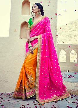 Orange N Pink Half N Half Saree