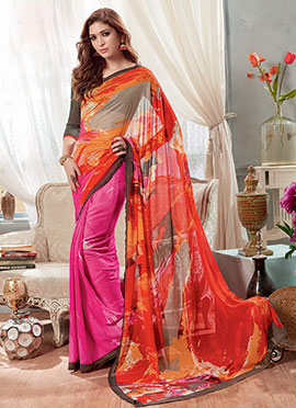 Orange N Pink Half N Half Saree