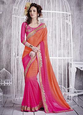Orange N Pink Jacquard Georgette Saree