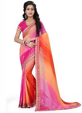 Orange N Pink Leheriya Saree