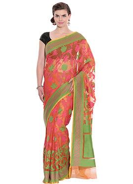 Orange N Pink Net Saree
