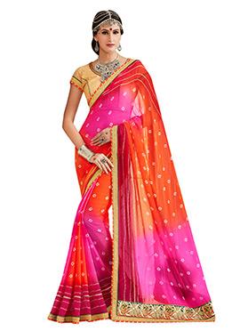 Orange N Pink Ombre Bandhini Pattern Saree