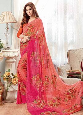 Orange N Pink Printed Saree