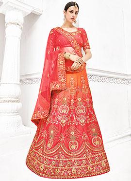 Orange N Pink Pure Benarasi Silk A Line Lehenga