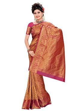Goldorange N Pink Pure Kancheepuram Silk Saree