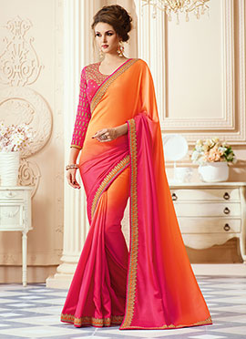 Orange N Pink Satin Border Saree