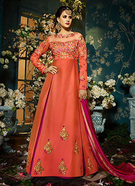 Orange N Pink Taffeta Silk Anarkali Suit