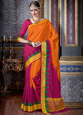 Orange N Pink Tussar Silk Saree