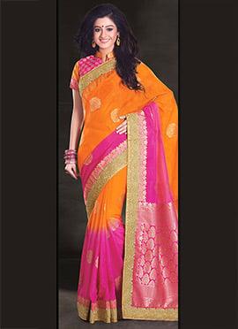 Orange N Pink Uppada Silk Saree