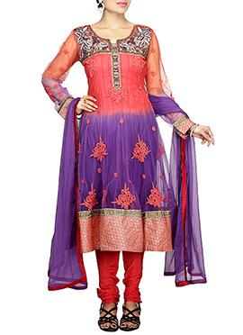 Orange N Purple Net Anarkali Suit