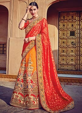 Orange N Red Art Silk A Line Lehenga