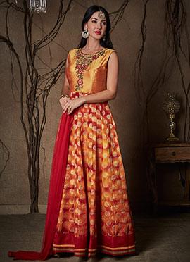 Orange N Red Art Silk Anarkali Suit