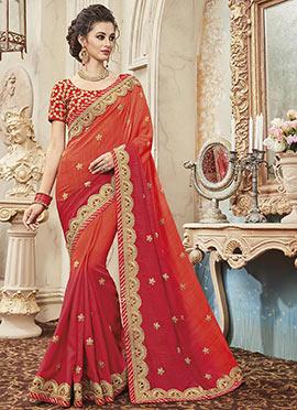 Orange N Red Art Silk Saree
