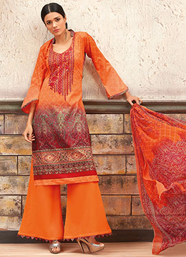 Orange N Red Blended Cotton Palazzo Suit
