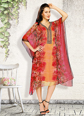 Orange N Red Chiffon Kaftan