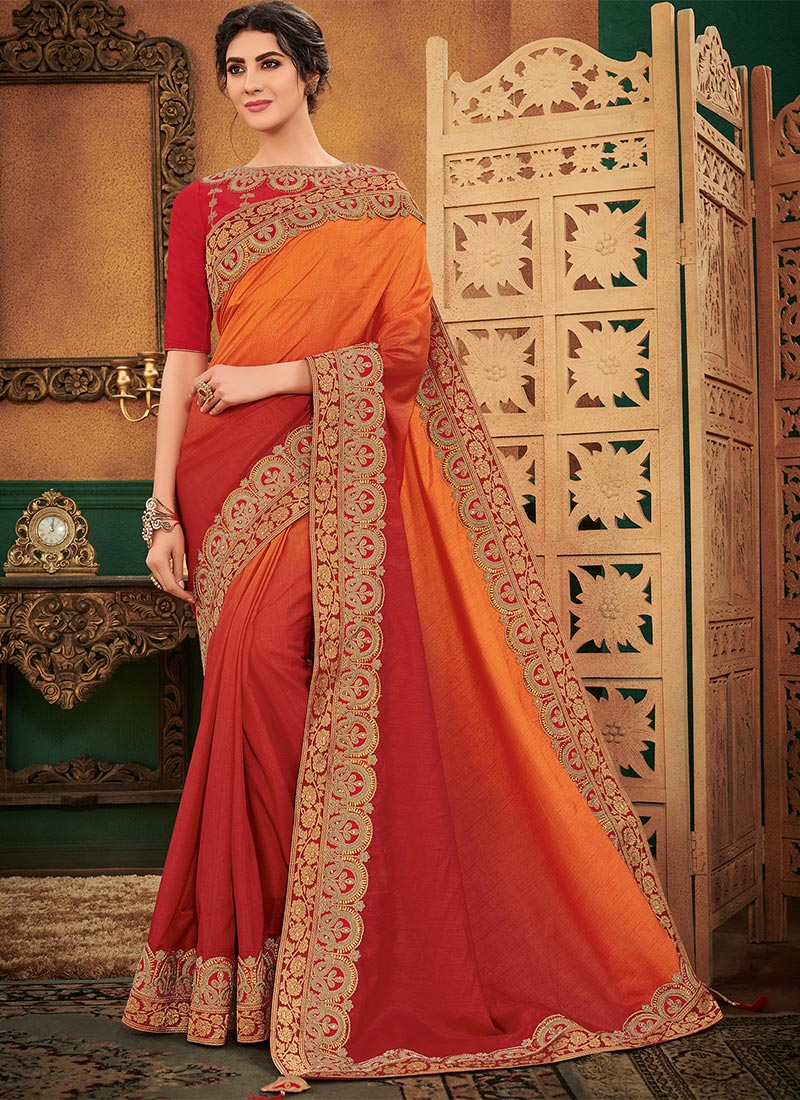 384e7c968b Buy Orange N Red Embroidered Saree, Embroidered, sari Online ...
