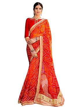 Orange N Red Georgette Bandhini Saree