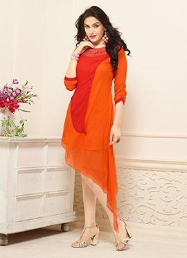 Orange N Red Georgette Kurti