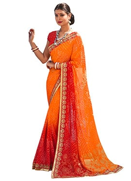 Orange N Red Georgette Saree