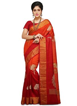 Orange N Red Pure Benarasi Silk Saree