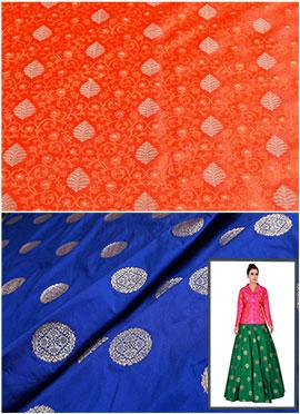 Orange N Royal Blue Art Silk Skirt Set