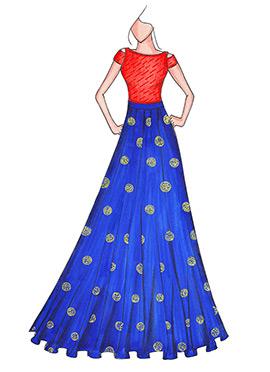 Orange N Royal Blue Highwaisted Skirt N Crop Top