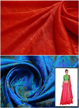 Orange N Royal Blue Skirt N Crop Top