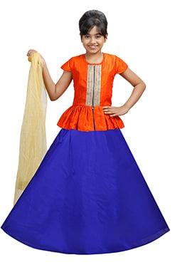 Orange N Royal Blue Velvet Kids A Line Lehenga