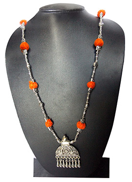 Orange N Silver Necklace