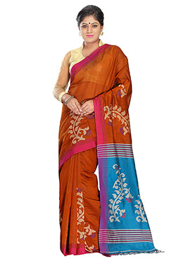 Orange N Sky Blue Silk Cotton Jamdani Saree