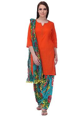 Orange N Teal Blue Pure Cotton Patiala Suit