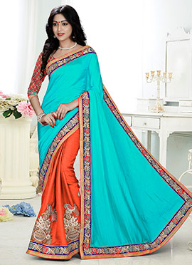 Orange N Turquoise Blue Half N Half Saree