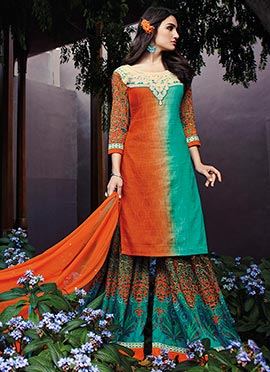 Orange N Turquoise Green Palazzo Suit