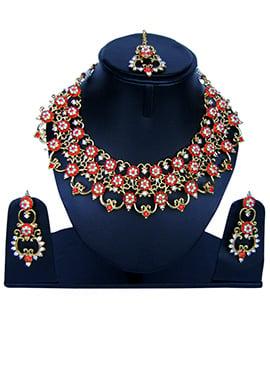Orange N White Zircon Stone Necklace Set