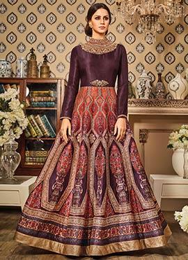 Orange N Wine Art Silk Anarkali Suit
