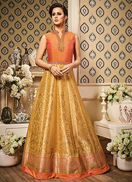 Orange N Yellow Art Silk Anarkali Suit
