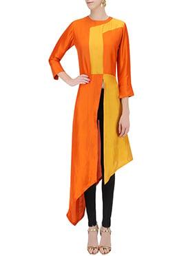 Orange N Yellow Art Silk Tunics