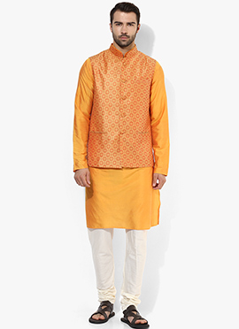 Orange N Yellow Benarasi Cotton Silk Bandi Set