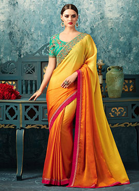 Orange N Yellow Embroidered Border Saree
