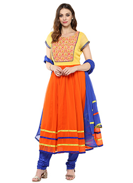 Orange N yellow Georgette Anarkali Suit