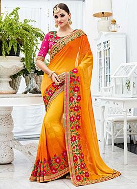 Orange N Yellow Georgette Saree