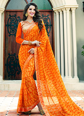 Orange N Yellow Georgette Saree