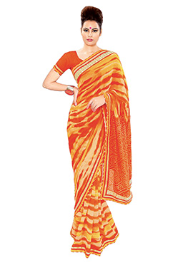 Orange N Yellow Leheriya Saree