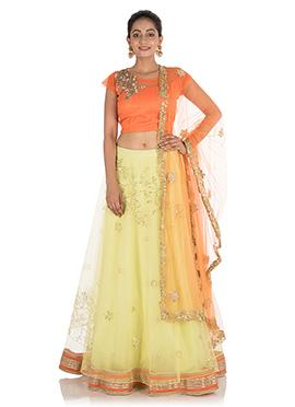Orange N Yellow Pure silk Umbrella Lehenga