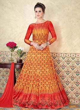 Orange N Yellow Satin Abaya Style Anarkali Suit