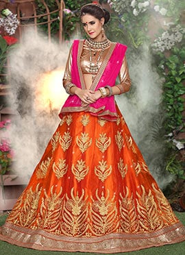 Orange Net A Line Lehenga