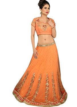 Orange Net Embellished A Line Lehenga Choli