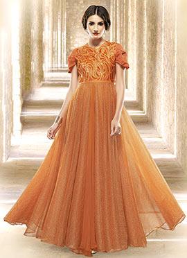 Orange Net Embroidered Anarkali Gown