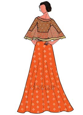 Orange Net Embroidered Cape Set