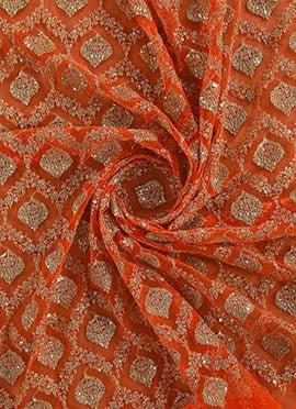 Orange Net Embroidered Fabric